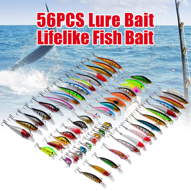 Bobing 56Pcs/lot Mixed Fishing Lures Set Wobbler Crankbaits Swimbait Minnow Hard Baits Spinners Carp Fishing Tackle Accessories bobing spinners 30pcs metal spoon lures hard bait multiple colors lure fishing tackle accessories artificial baits pesca spiners