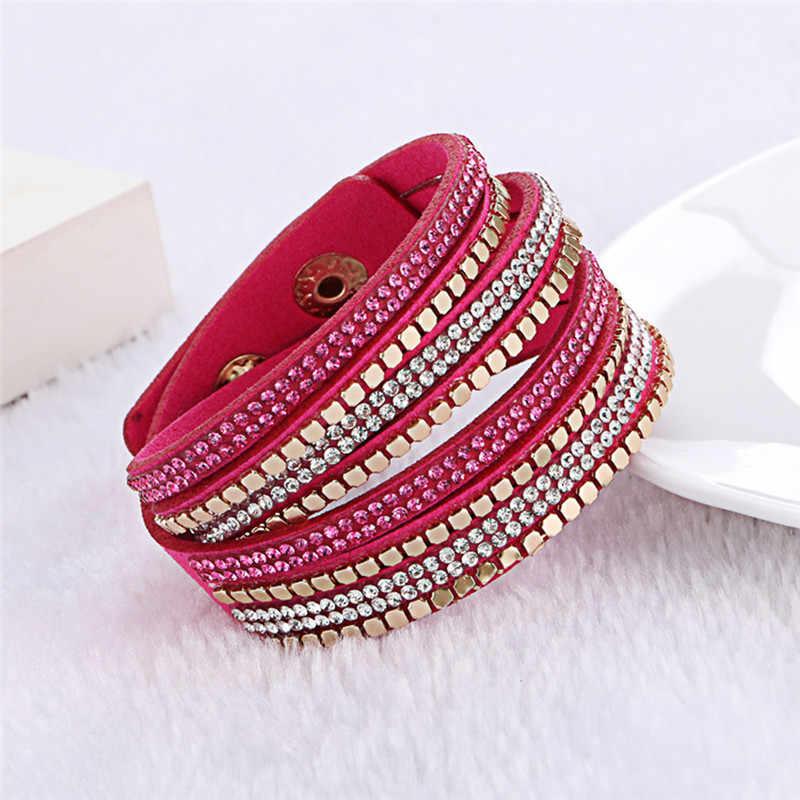 Kejialai кожаный фланелет двойной круг Горячая имитация wrap браслет с кристаллом для женщин Этническая веревочная цепочка с подвеской KJL032