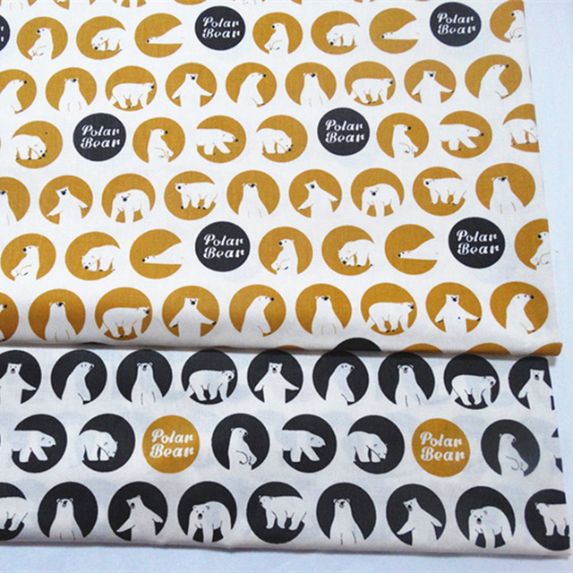 New Arrival 50x160cm Printed Baby Polar Bear Cotton Twill Fabric For