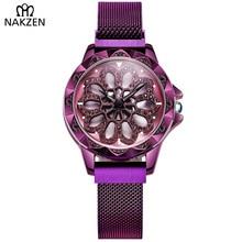 цена на Fashion Women Watch Luxury Ladies Mesh Band Quartz New Design Rotating Dial Wrist Watches Relojes Mujer 2019 NAKZEN Female Clock