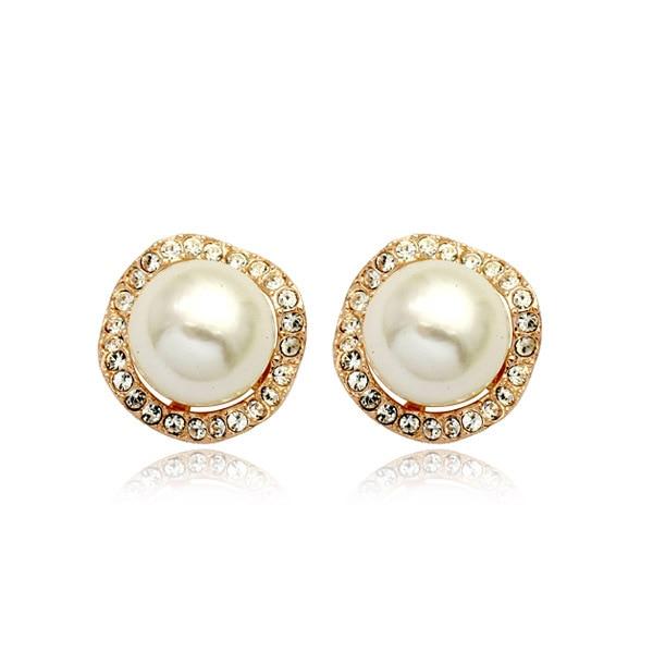 Atmospheric pearl ball micro encrusted ear clips Vintage female earrings Birthday gift CBA07