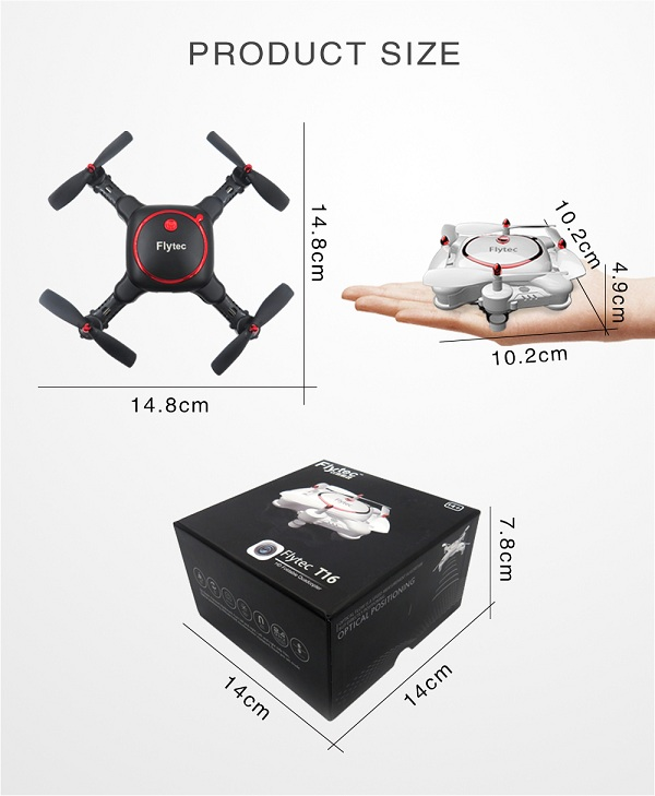 Flytec T16 Optical Positioning Foldable Drone with 480P Wifi FPV High Hold Function Pocket Drone VS Eachine E55 & FQ17W