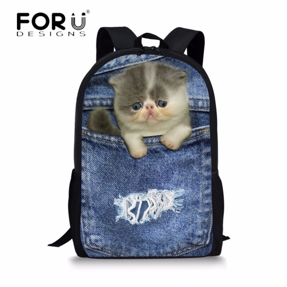 FORUDESIGNS Women Travel Backpack Kawaii Cowboy Pockets Cats School Backpacks for Teenage Girls Boys Casual Bagpack Back Pack