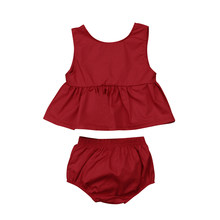 Emmababy Baby Girls Solid Burgundy Crop Square Neck Top Dress +Shorts Pants Casual Outfits Clothes Set(China)
