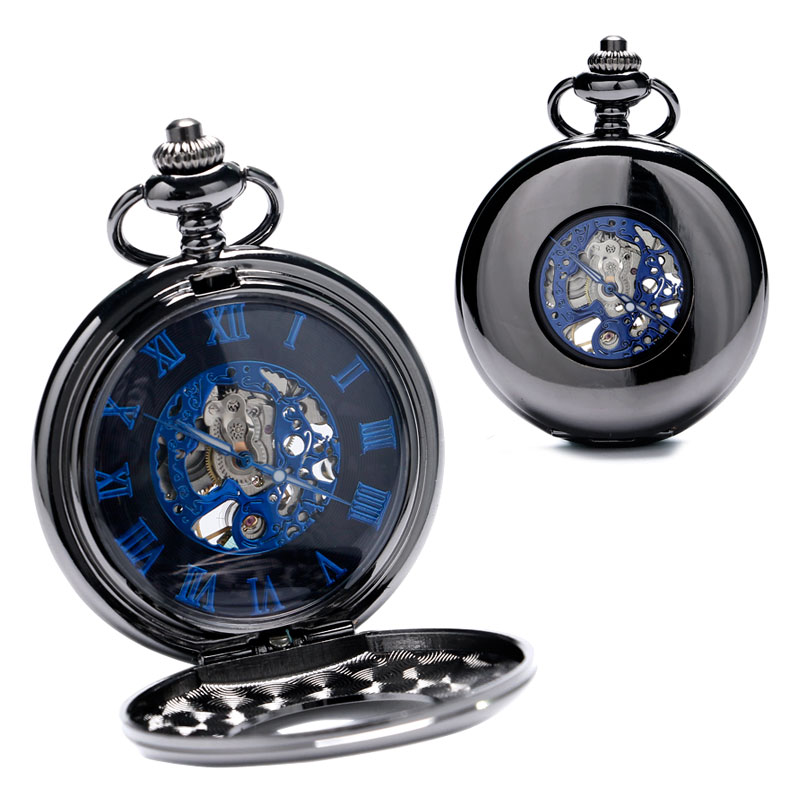 Retro Black Mechanical Pocket Watch Men Automatic Watches with Chain Gift for Father's Day P858C wholesale 2016 mechanical hand wind pocket watch with chain cool men watch gift for father day