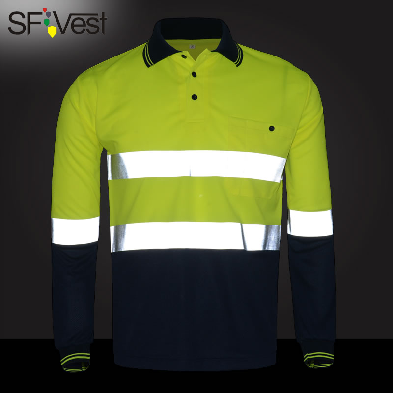 SFVest High visibility safety work polo t-shirt Moisture Wicking Fabric heated bright silver reflective t-shirt polo shirt