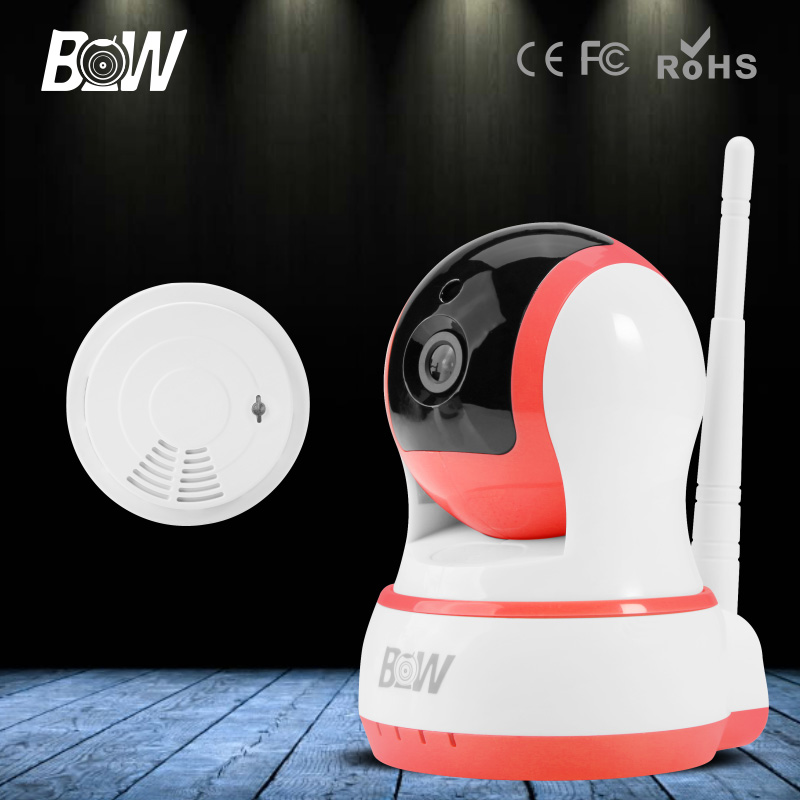 ФОТО BW Wireless HD 720P IP Camera Wifi P2P Baby Monitor + Smoke Detector P/T Portable with SD Card 3.6mm Endoscope for IOS Android