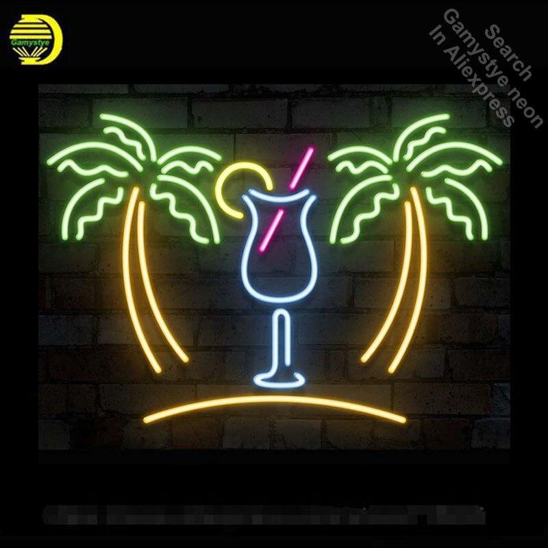 Néon Signe Palmier avec Tasse Ampoule Au Néon Signe Boisson Fabriqués À La Main Bière Pub Signe Décorer Windows Neon Light Enregistrez-vous Publicité art Lampe
