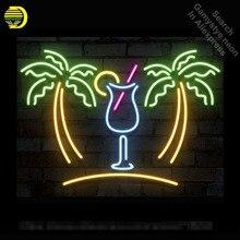 Неоновая вывеска пальмы с чашкой неоновая лампа знак напиток ручной работы пивной знак украсить окна неоновый свет знак рекламировать книги по искусству лампа