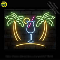 Neon Sign Palm Tree with Cup Neon Bulb Sign Drink Handcrafted Beer Pub Sign Decorate Windows Neon Light Sign Advertise Art Lamp