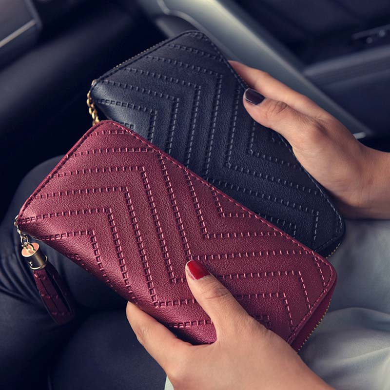 2017 New Fashion Women Casual Wallet Solid Color Leather Tassel Wave Pattern Long Style Ladies Coin Zippered Purse 88 L chic quality casual style solid color cotton pattern knitted blanket