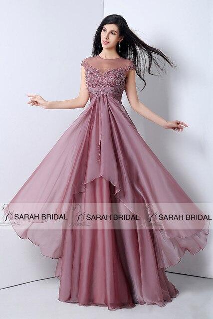 Elegant Back Keyhole Chiffon Formal Evening Dresses 2015 Mauve