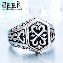 BEIER Cross Antiqued Northern Europe Viking 316L Stainless Steel Ring Gothic Pattern Jewelry  Factory price  BR8-215 US Size