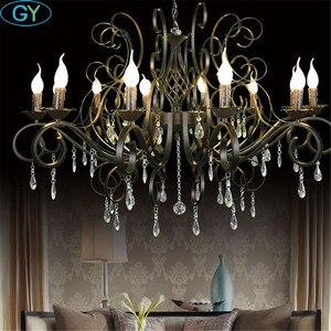 Image 5 - 현대 크리스탈 샹들리에 10 라이트 블랙 크리스탈 빗방울 장식 대형 샹들리에 거실 홈 조명 실내 램프