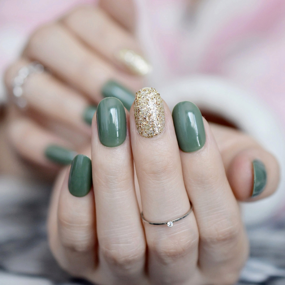 Fashion Fake Nails Glitter Decor Dark Green Short Full Artificial Nail Tips With Glue Sticker For Office Home Faux Ongle Z834 In False From Beauty