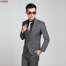 2017 new men's  dark gray models Slim marriage business suit two pieces