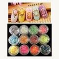 10g/botella de 12 Colores de Uñas de Arte de Papel de aluminio Mylar Hielo poder brillo Decoración Del Arte Del Clavo Herramientas