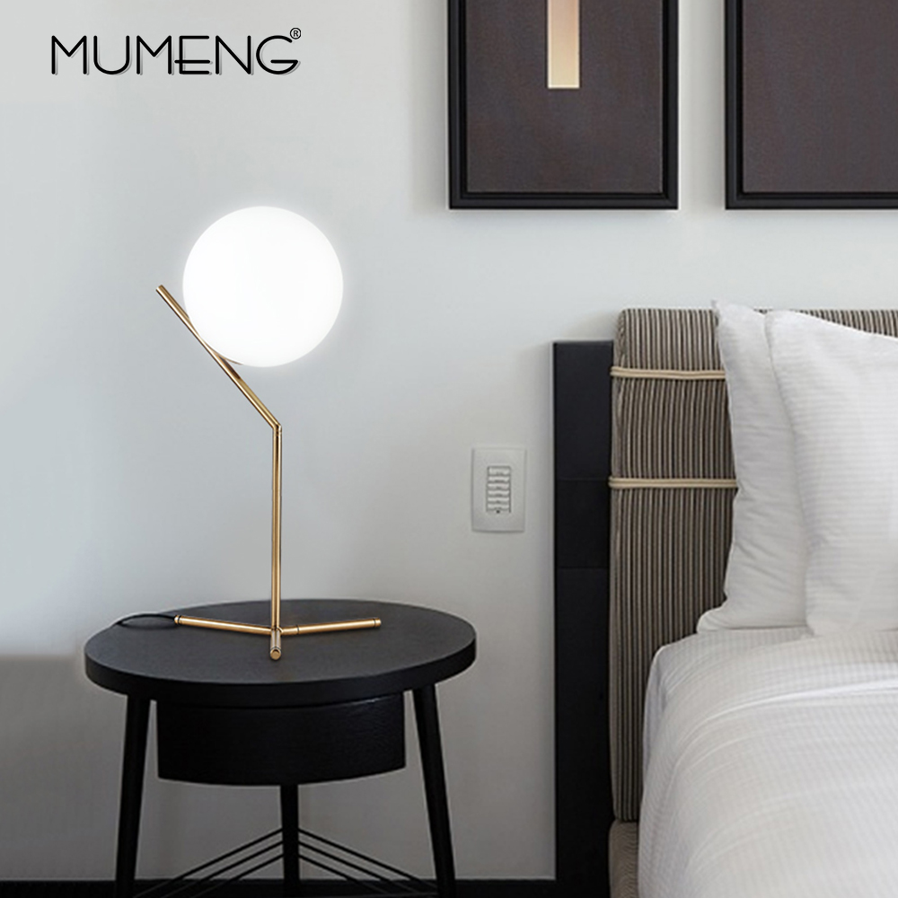 27cdc9920f703 Nordic creative modern minimalist glass ball LED table lamp 3W E14  decorative light for living room / bed room / restaurant