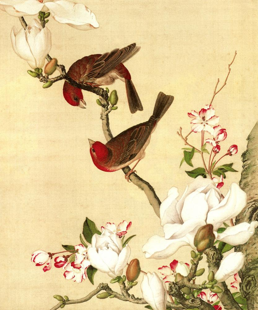 Chinoiserie Peach Blossom and Magpie Classical Oil Painting Picture ...