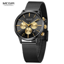 MEGIR Womens Chronograph Steel Quartz Watches Fashion Waterproof Luminous 24 hour Analogue Wristwatch for Woman Lady 2011L 1N3