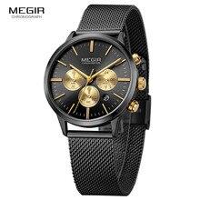 Megir cronógrafo feminino relógios de quartzo de aço moda à prova dwaterproof água luminosa 24 horas analógico relógio de pulso para mulher senhora 2011l 1n3