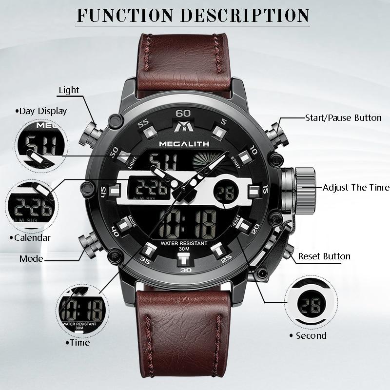 MEGALITH moda męska Sport zegarek kwarcowy mężczyźni wielofunkcyjny wodoodporny zegarek luminescencyjny mężczyźni podwójny Dispay zegar Horloges Mannen 4
