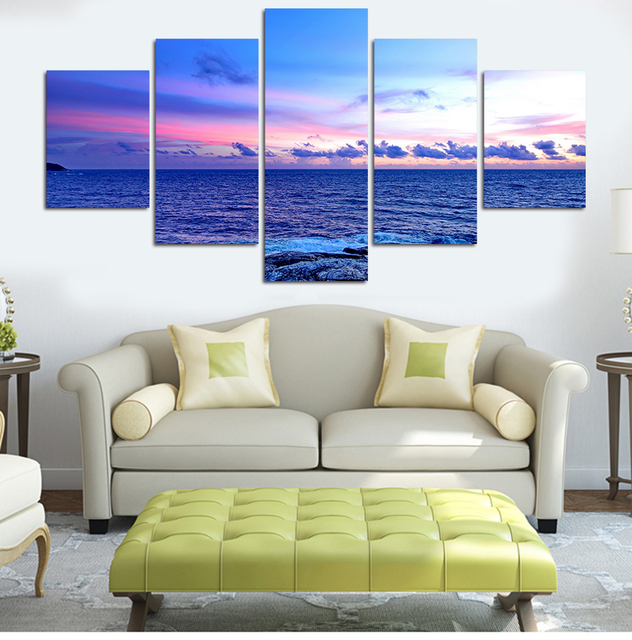 5PCS Deep Blue Ocean Home Decor Canvas Wall Art Decor Painting