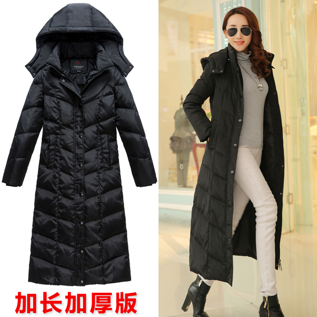 63163c06cfe new 2017 maxi long duck down coat hooded over-the-knee thickening thermal jacket  winter black purple plus size 2xxl 3xxxl 4xxxxl