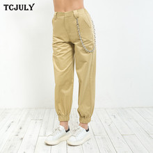 TCJULY Hot Sale Cotton Streetwear Solid Casual Cargo Pants With Chains High Waist Ankle Banded Loose Trousers For Women 4 Colors(China)