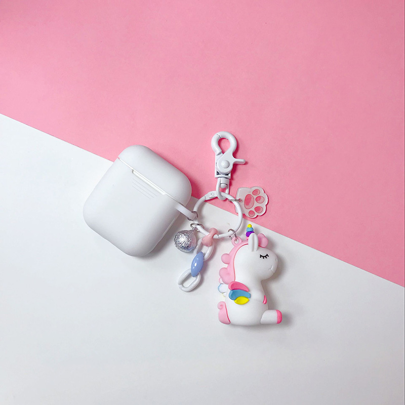 Cartoon Unicorn Keychain Silicone Case for Apple Airpods Case Air Pods Accessories Bluetooth Earphone Protective Cover Key Ring in Key Chains from Jewelry Accessories