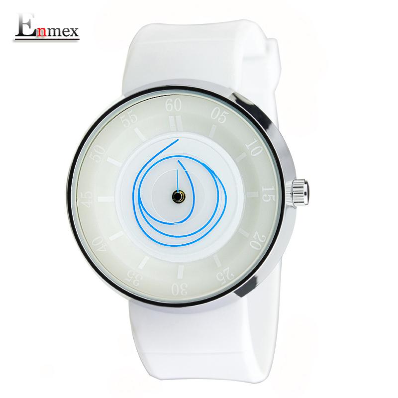 Prix pour 2017 hommes de cadeau enmex hommes femmes vol créative conception montre-bracelet angle visage blanc couleur sport mode casual montres à quartz