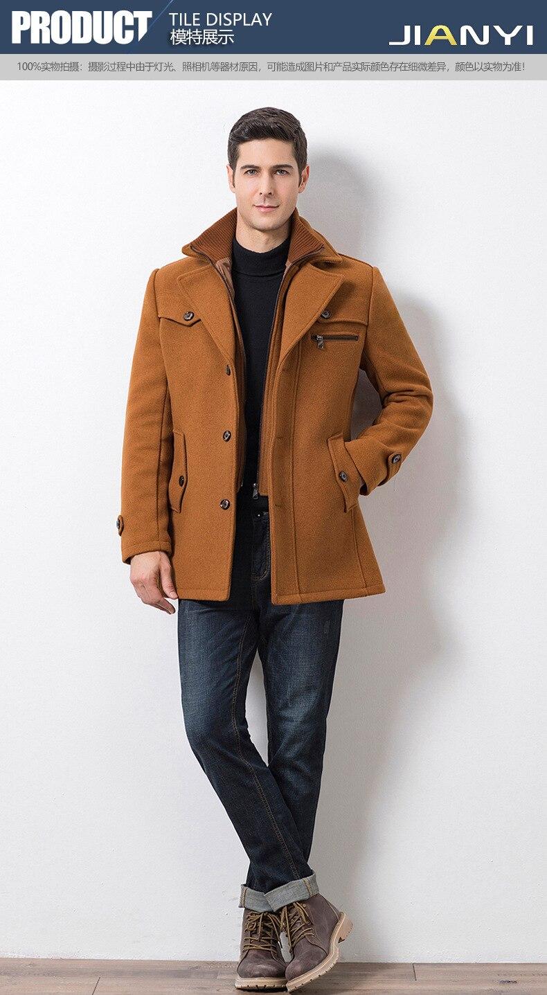 Winter Men's Casual Wool Trench Coat Fashion Business Medium Solid Thicken Slim Windbreaker Overcoat Jacket Male Plus Size 5XL 16