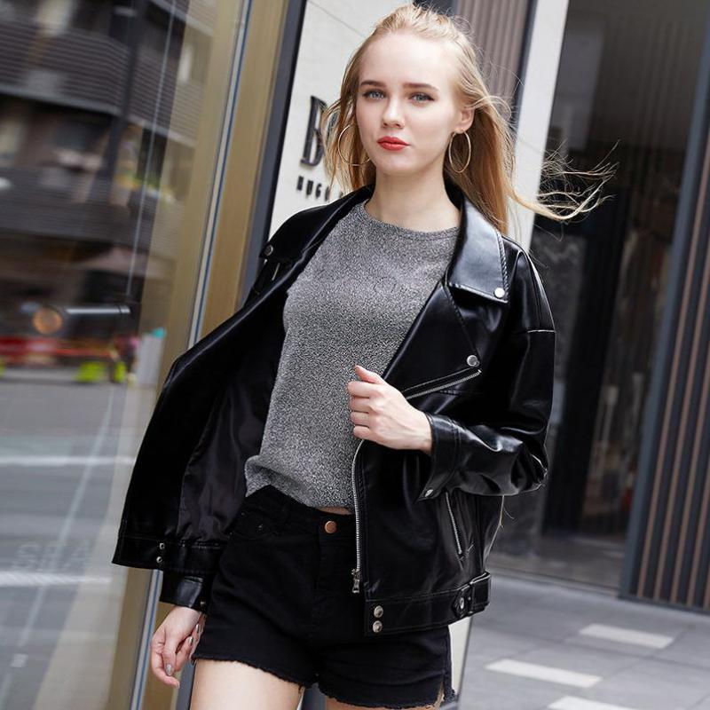 Women's short   leather   coat 2019 new   leather   spring and autumn motorcycle   leather   jacket loose Korean version
