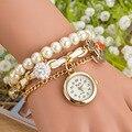 New Korean Fashion Jewelry Chain Bracelet Blasting Pearl Pendant Wristwatch Watch for Women Ladies Girls Gold