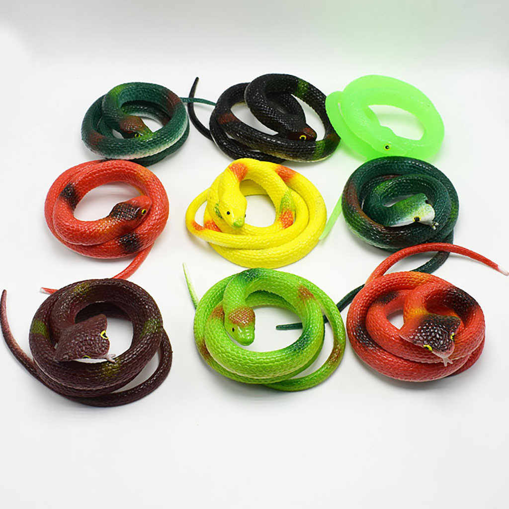 Halloween Prank Prop For Decor High Simulation Rubber Snake Toy Kids Gag Toys Prank Jokes Toys Animals Model Funny Fierce Snake