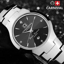 Moda de acero de tungsteno hombres mujeres marca de fábrica famosa de cuarzo reloj de vestir rhinestone de la vendimia de zafiro señoras impermeables relojes del amante