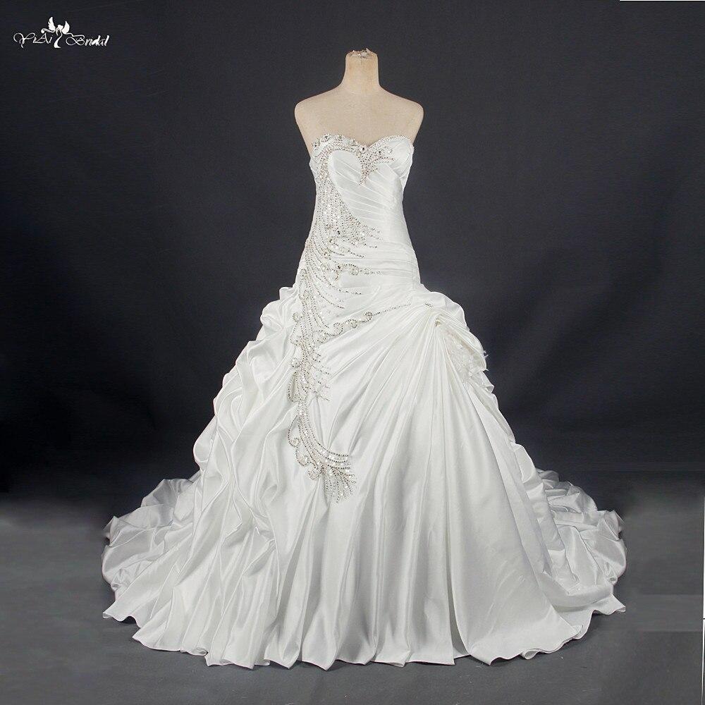 RSW788 Échantillon Réel Photos Satin robe de Bal Robes De Mariée Avec Dentelle Perlée Appliques Robes de Noiva