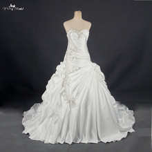 RSW788 Real Sample Photos Satin Ball Gown Wedding Dresses With Beaded Lace Appliques Vestidos de Noiva