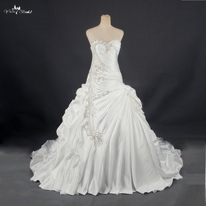 Image 1 - RSW788 Real Sample Photos Satin Ball Gown Wedding Dresses With Beaded Lace Appliques Vestidos de Noiva