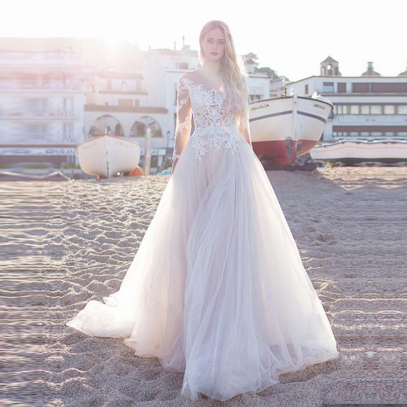 Long Sleeve Beach Wedding Dress White Ivory Lace Appliques Simple Bride Dresses Custom Made Button Back Vestido De Noiva
