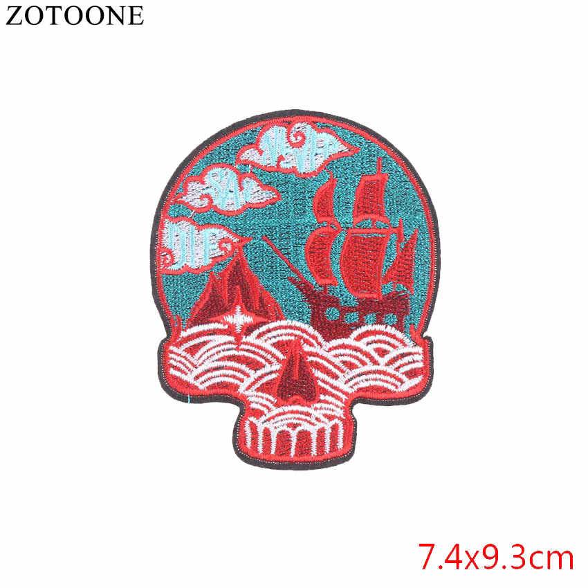 Zotoone Tengkorak Unicorn Besi Pada Patch Punk Bordir Besi Stiker untuk Pakaian Hewan Patch Ransel Bordiran Dekorasi E