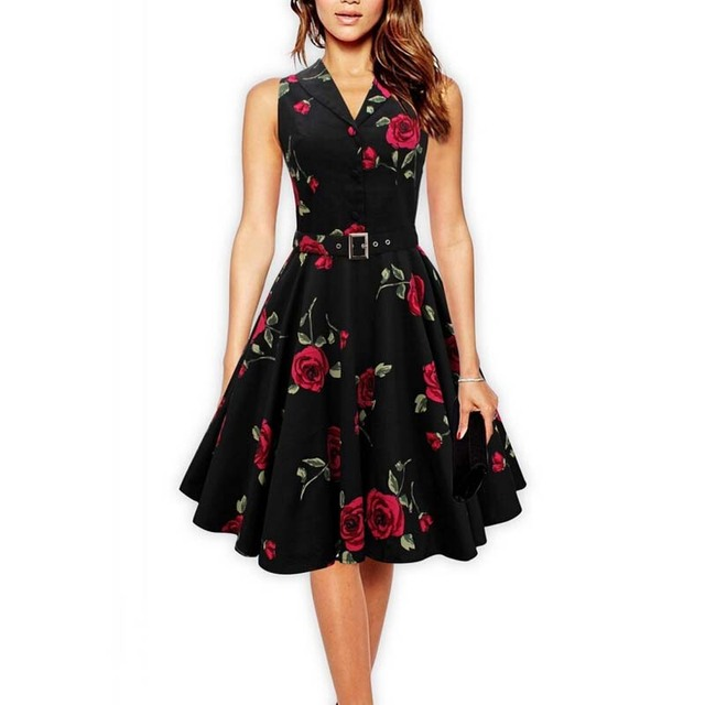 Women Vintage Dress Rose Floral Print 50s 60s Rockabilly Ruched Elegant  Sleeveless Casual Sexy Tunic Evening 1270477bfb27