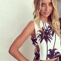Palm tree imprimir tops verão estilo tanque colheita top sexy menina mulheres tanque halter bustier bralette top de Algodão curto Branco moda