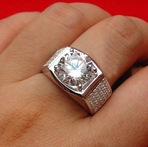 Aliexpresscom Buy Super Brilliant Solid White Gold Man Ring