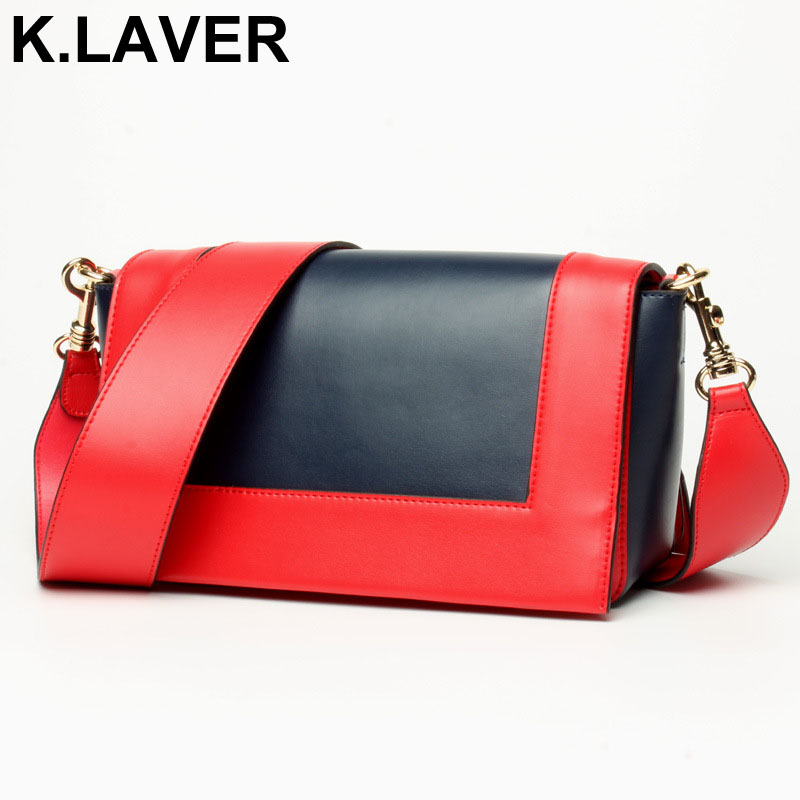 K.LAVER Genuine Leather Fashion Women Crossbody Bag Shoulder Bag For Ladies Messenger Bags Purse Female Soft Cowhide Bags Bolsos just star women s leather messenger bags ladies fashion shell tassel shoulder purse female bee summer crossbody bags