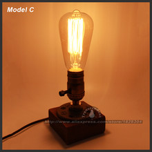Desk Lamps Edison T45 Bulb Retro Coffee Shop Indoor light Table Wood Vintage Dimmable Bedroom Table Light Desk Wooden Desk Lamps(China)
