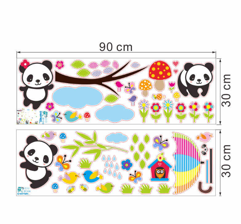 Панда Бамбук Птицы мультфильм виниловые наклейки для детской комнаты дерево небо настенные ребенок обои детские Decor Wall Art наклейки