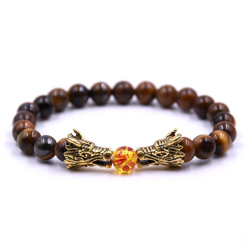HYHONEY 8MM Natural Stone Beads Bracelet For Men bileklik Men Jewelry Dragon pulseras 5