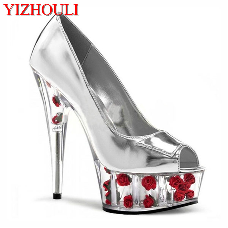 15cm sexy High-Heeled Shoes With Romantic Crystal Rose silver/ Bride Wedding Shoes 6 Inch Beautiful Flowers Platforms Shoes 6 inch flower crystal shoes romantic rose bride wedding shoes 15cm ultra high heels platform full transparent crystal slippers
