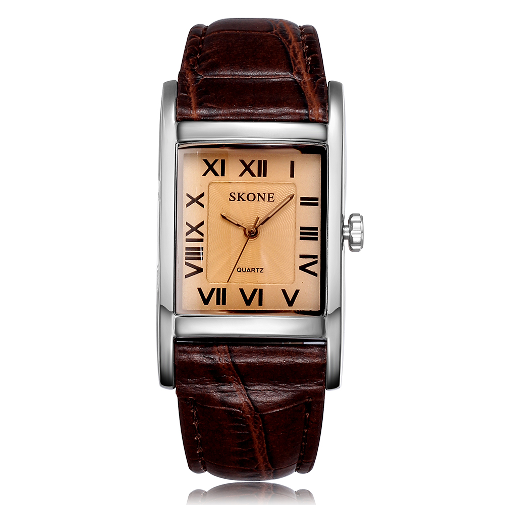 Skone New Fashion Casual Leather Band Rectangle Dial Roman Number Rose Gold Case Women Quartz Watches
